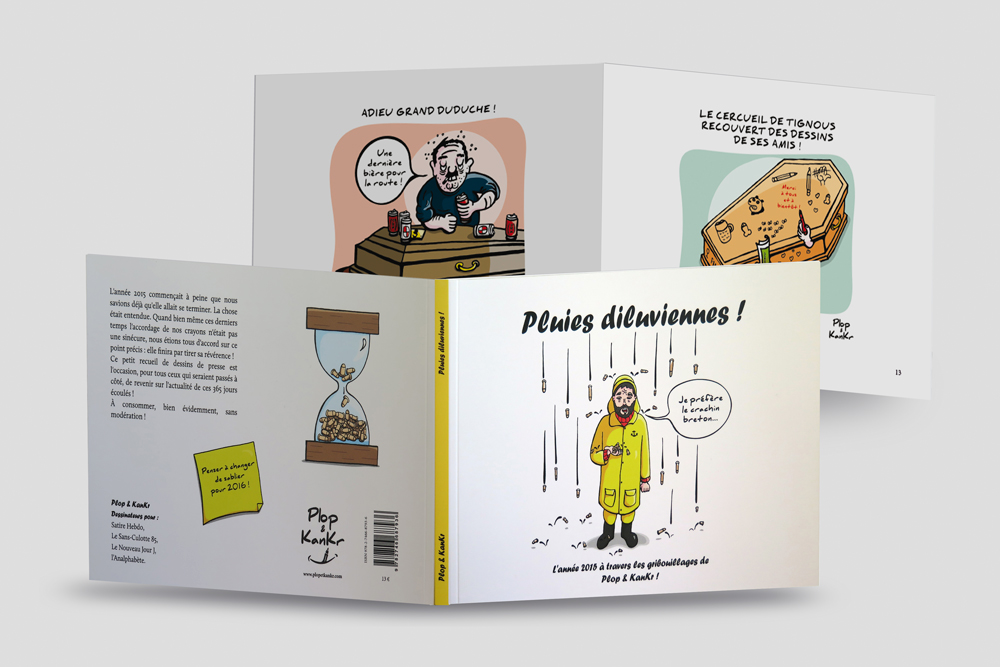 Mise en pages et maquettage d'un recueil de dessins de presse